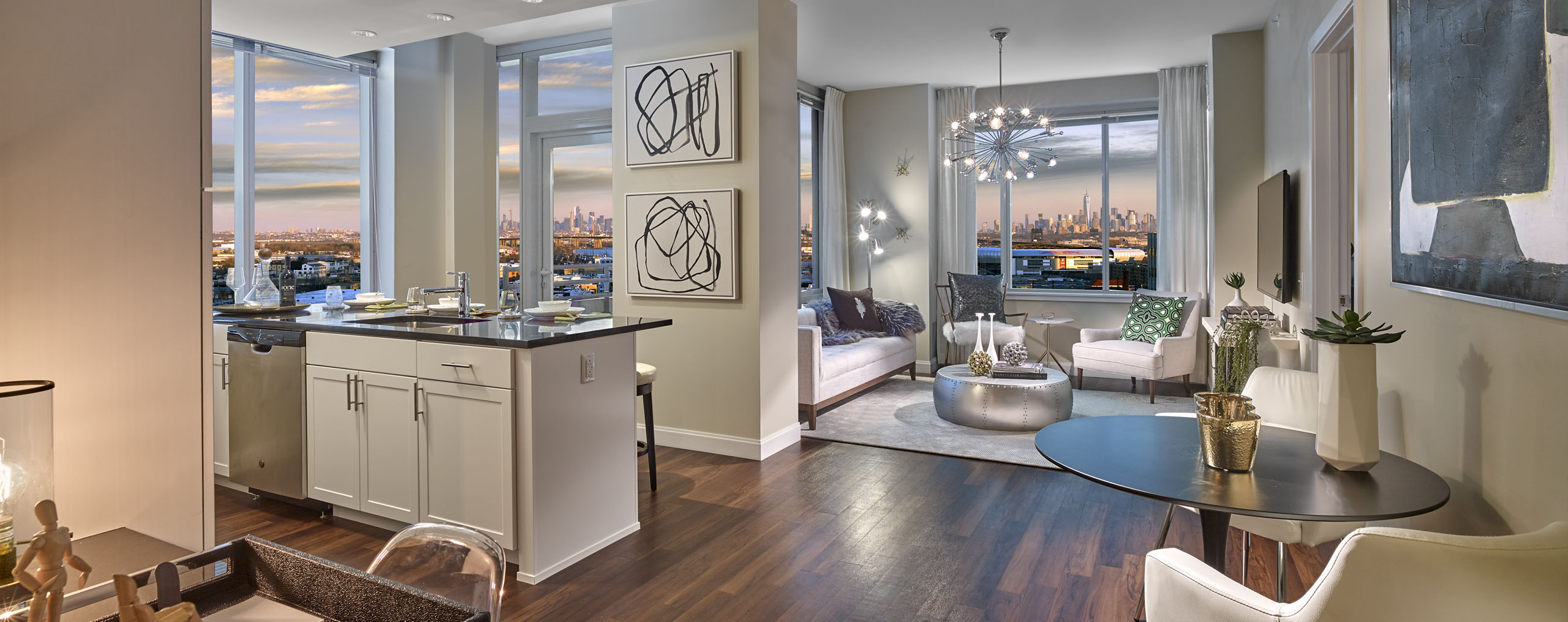 One Theatre Square Apartment with gorgeous view of New York City's Manhattan skyline.